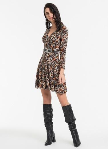 Styletag Çiçekli Kruvaze Elbise Renkli